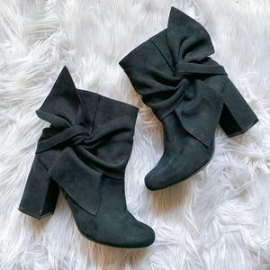 Not Rated Oversized Bow Ankle Boot Chunky Heel 6